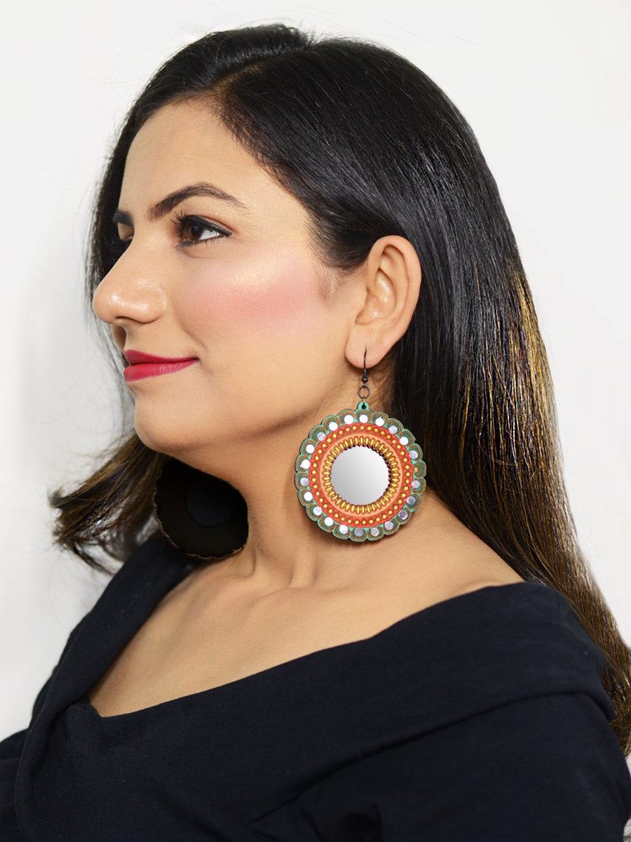 Aayat Hand painted Wooden Mirror Earrings