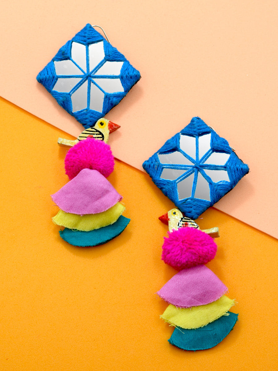 Abida Pom Hand Embroidered Earrings