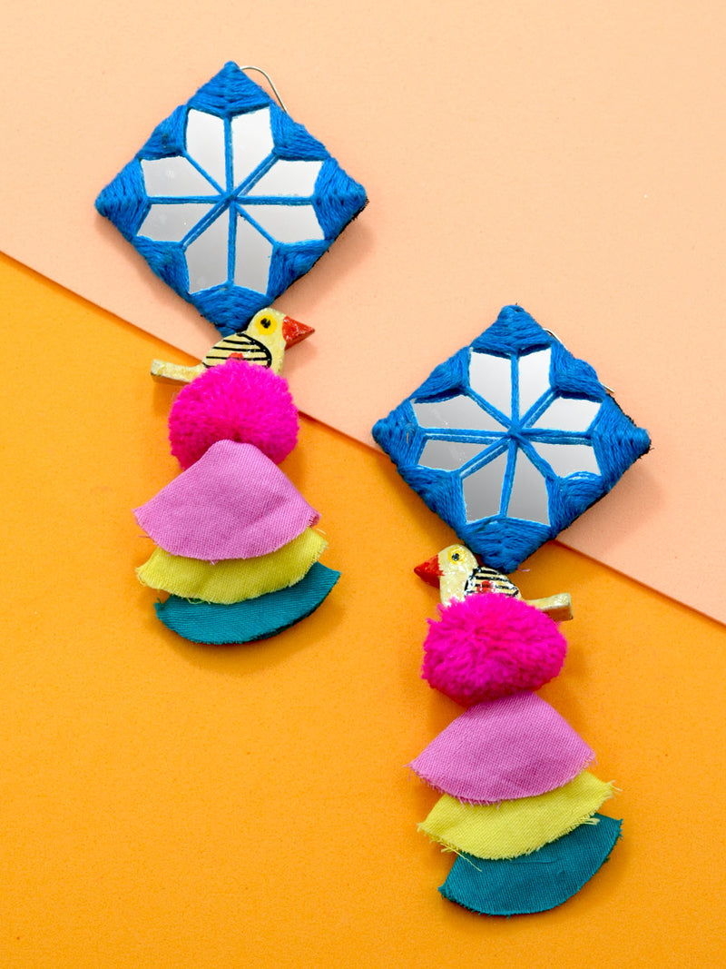 Abida Pom Hand Embroidered Earrings, an embroidered earring with pom pom from our quirky designer collection of earrings for women online.