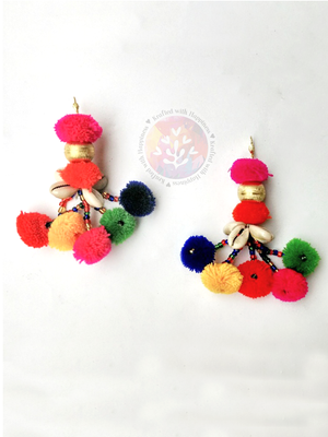 Bohemian Crush Earrings, a handcrafted multicolor pom pom earrings from our designer collection of earrings for women online.