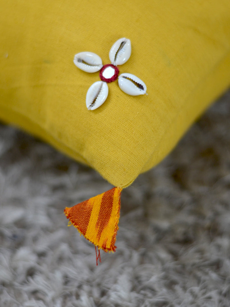 Banjaran Cushion Cover, a hand embroidered cotton cushion cover with shell, mirror and tassel detailing from our wide range of quirky, bohemian home decor products like ethnic cushion covers, wall decor and more.