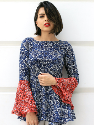 Samaira Bell Sleeves Top, a quirky boho bell sleeves top with bell and dori detail from our designer collection of tops for women.