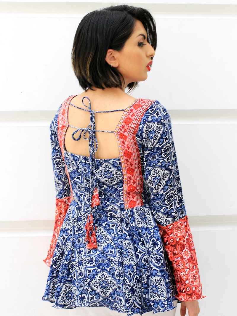 Samaira Bell Sleeves Top, a quirky boho bell sleeves top with bell and dori detail from our latest designer collection of tops for women online.