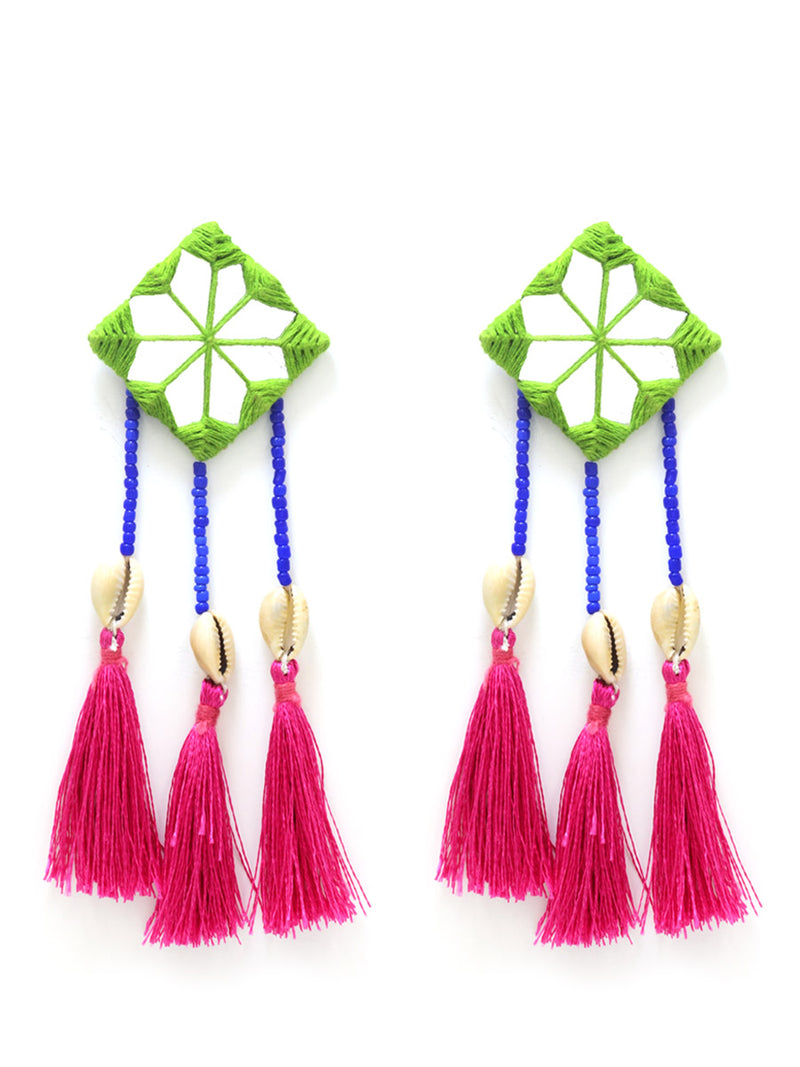 Bohemian Rhapsody Hand-embroidered Tassel Earrings