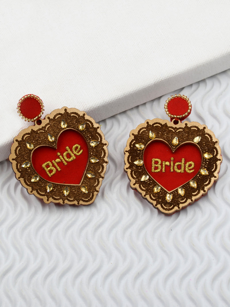 Bride Hand Embroidered Wooden Earrings