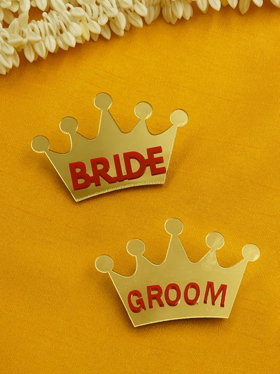Bride + Groom Brooch Set of 2