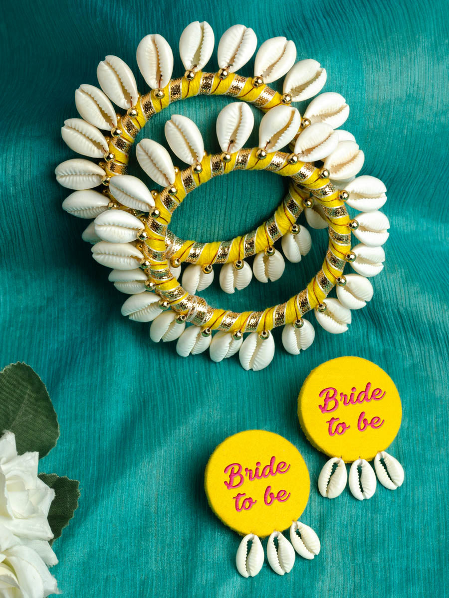 Bride to be Shell earrings + Shell bangles Set