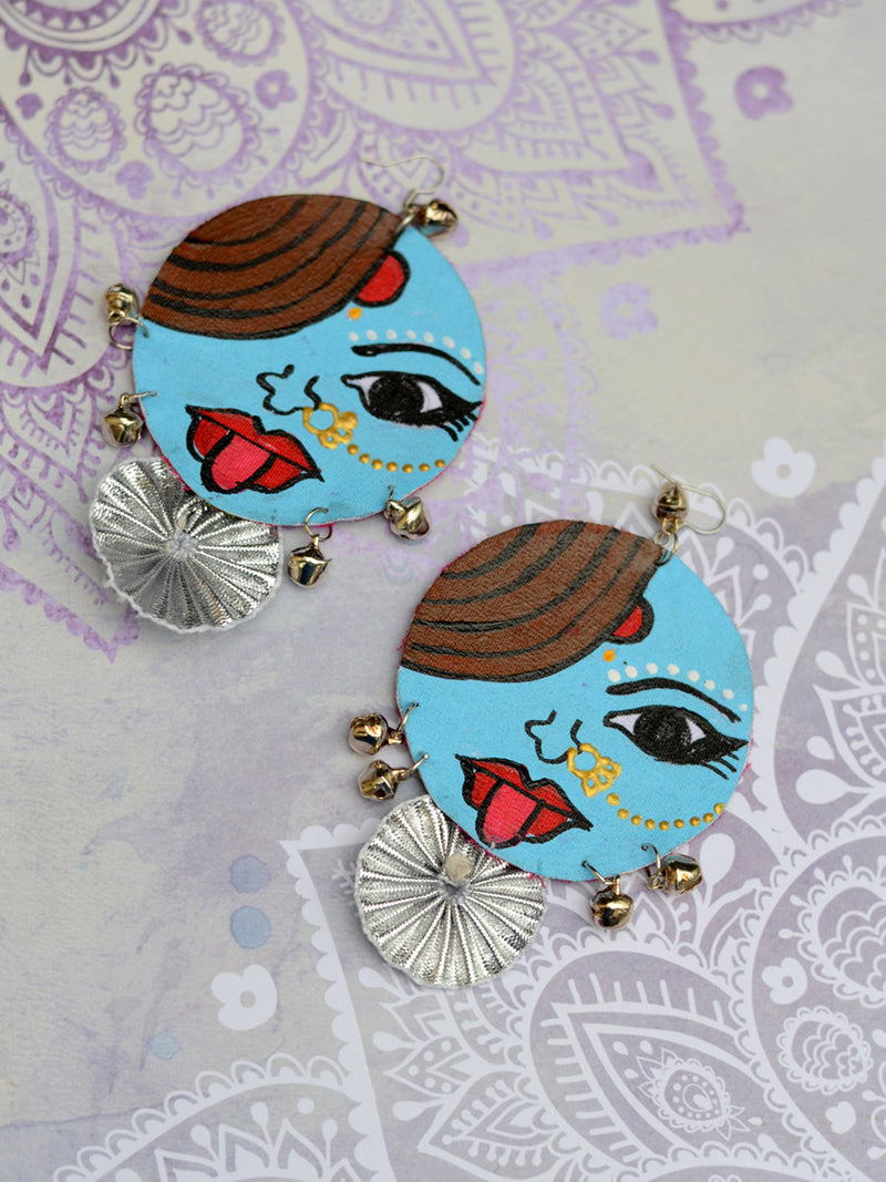 Ameya Earrings, a gorgeous hand painted earring with gota work and silver trinkets from our quirky designer collection of earrings for women online.