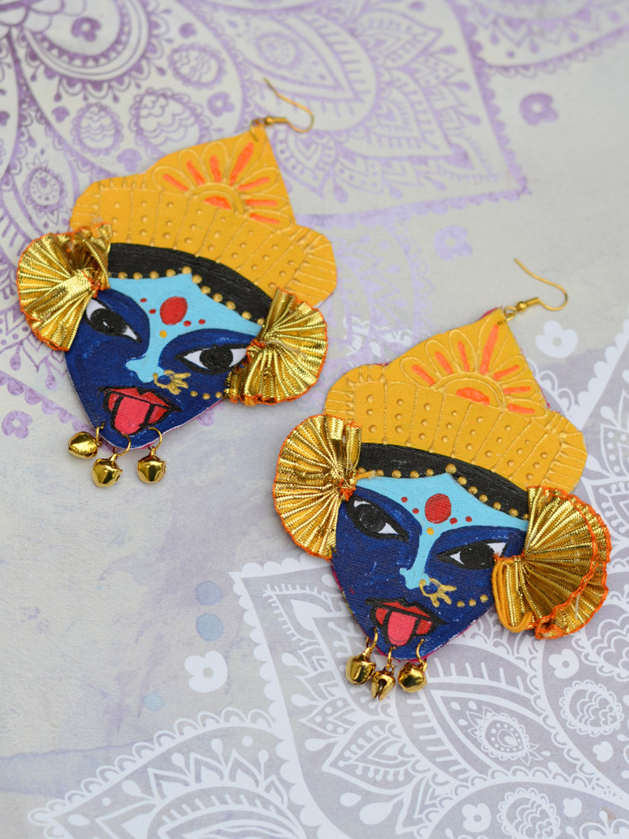Aparaa Earrings, a gorgeous handpainted earring with gota work and golden trinkets from our designer collection of earrings for women.