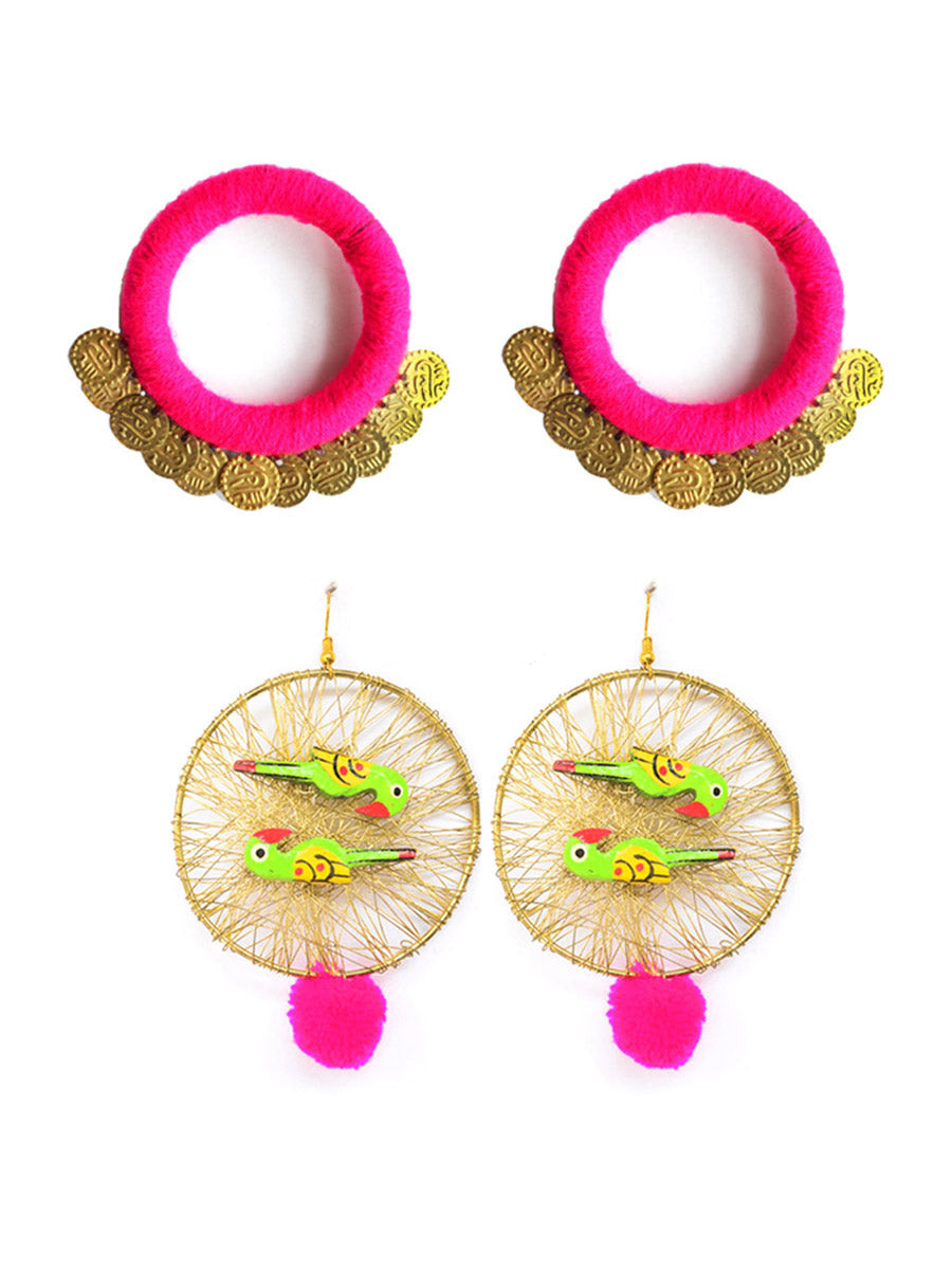 Shimmy Hoop+Parrot Paradise Earrings (Set of 2)