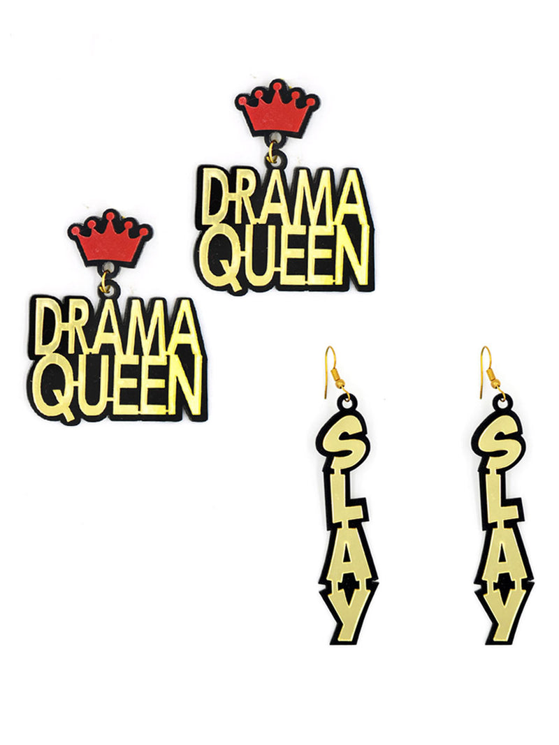 Drama Queen Slay Earrings (Set of 2) by kraftedwithhappiness