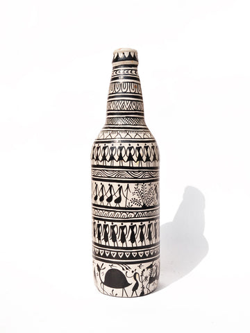 Decorative Bottle/Vase (Black and White) - 1
