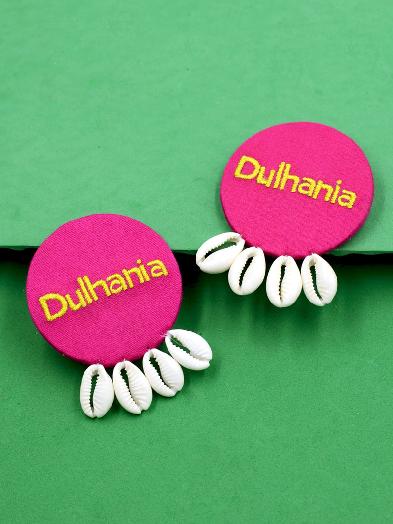 Dulhania Embroidered Shell Flower Earrings