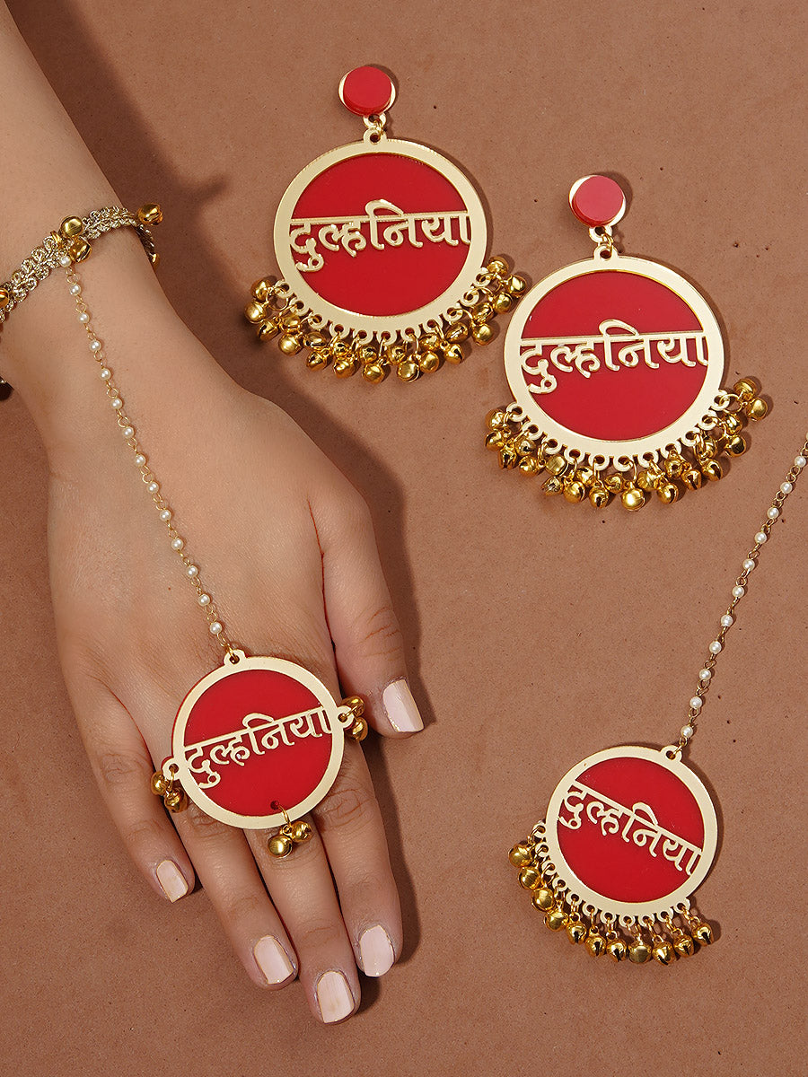 Dulhania Earrings + Maang Tikka + Hathphool Set