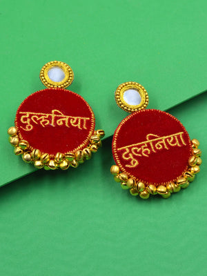 Dulhania Embroidered Ghungroo Earrings