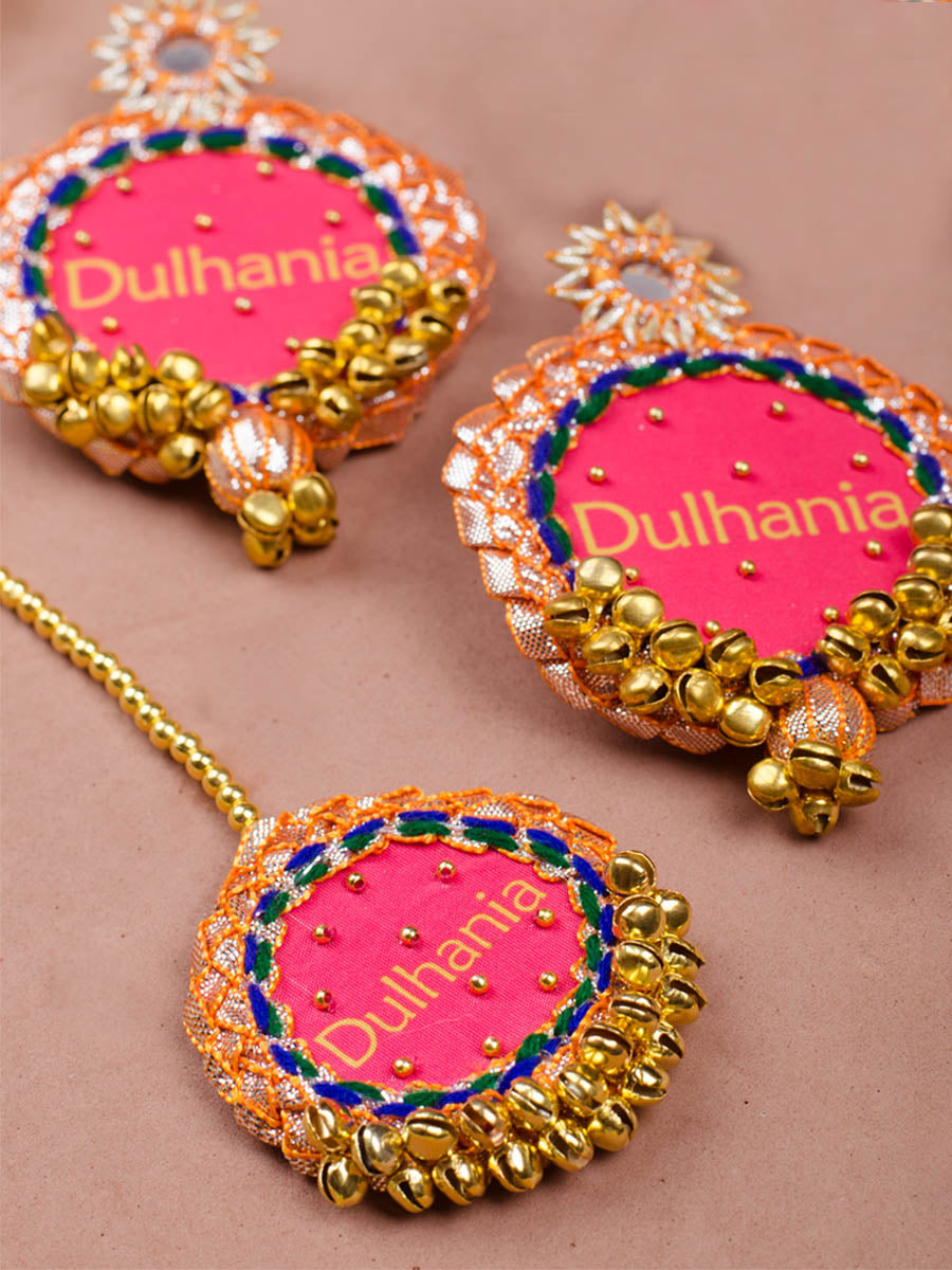 Dulhania Embroidered Gota Patti Set 2 (Earrings + Maang Tikka)