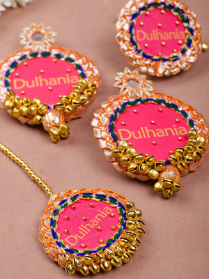 Dulhania Gota Patti Embroidered Set (Earrings + Maang Tikka + Ring)