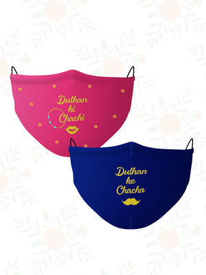 Dulhan ke Rishtedaar Couple Combo (Set of 2) Wedding Face Mask
