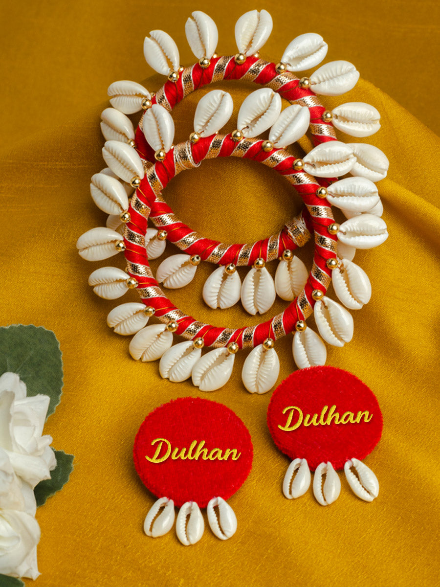 Dulhan Shell earrings + Shell bangles Set