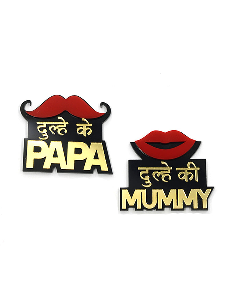 Dulhe ke Papa + Dulhe ki Mummy Brooch Set of 2