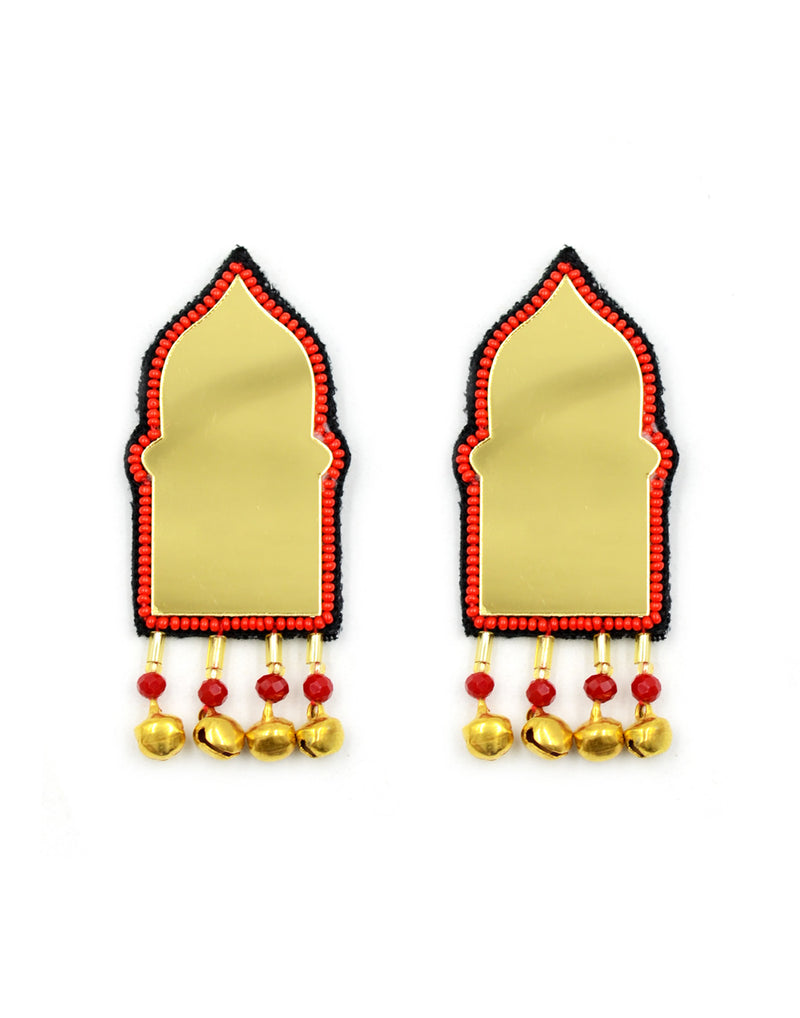 Aaina Bead Ghungroo Earrings