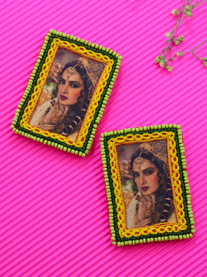 Eternal Rekha Earrings, a beautifully hand-embroidered earring from our designer collection of quirky, boho, Kundan and tassel earrings for women online.