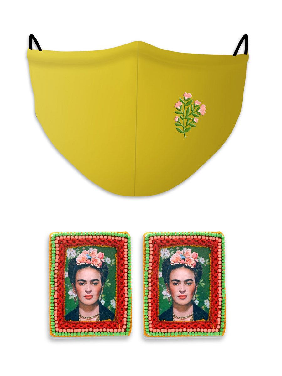 Fearless Frida Earrings + Floral Reusable Cotton Mask