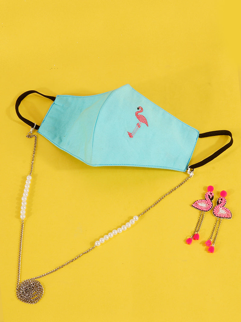 Embroidered Tropical Mask with Chain + Flamingo Bead Earrings Set