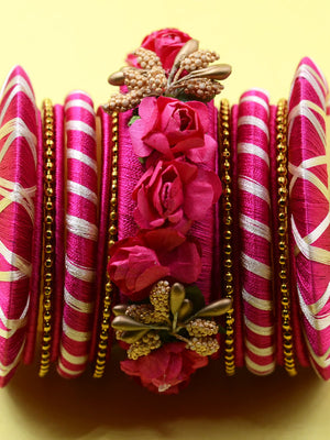 Floret Festive Bangles (Set of 15), an exclusive set of designer and hancrafted bangles from our wide range of floral, festive, gota patti and hand embroidered bangles for women online.