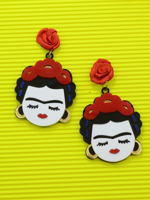 Frida Kahlo Earrings, a quirky, unique, statement party-wear earrings from our designer collection of earrings for women online.