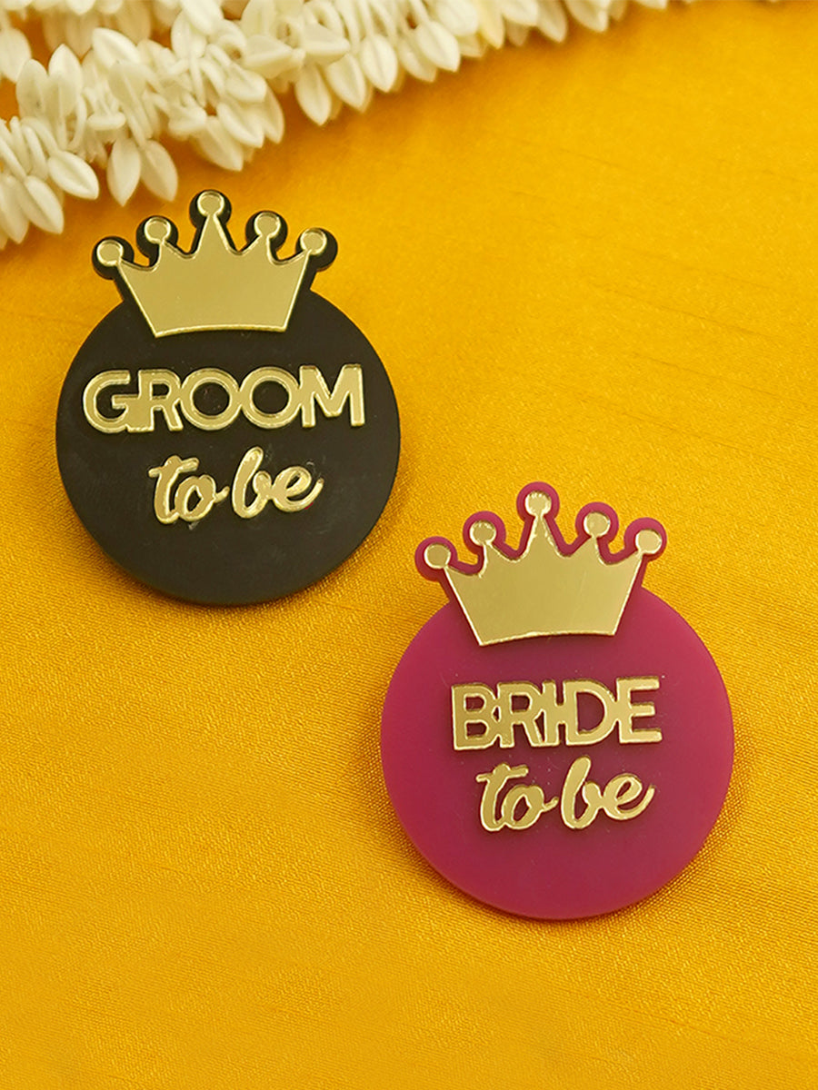 Groom To Be + Bride To Be Brooch Set of 2