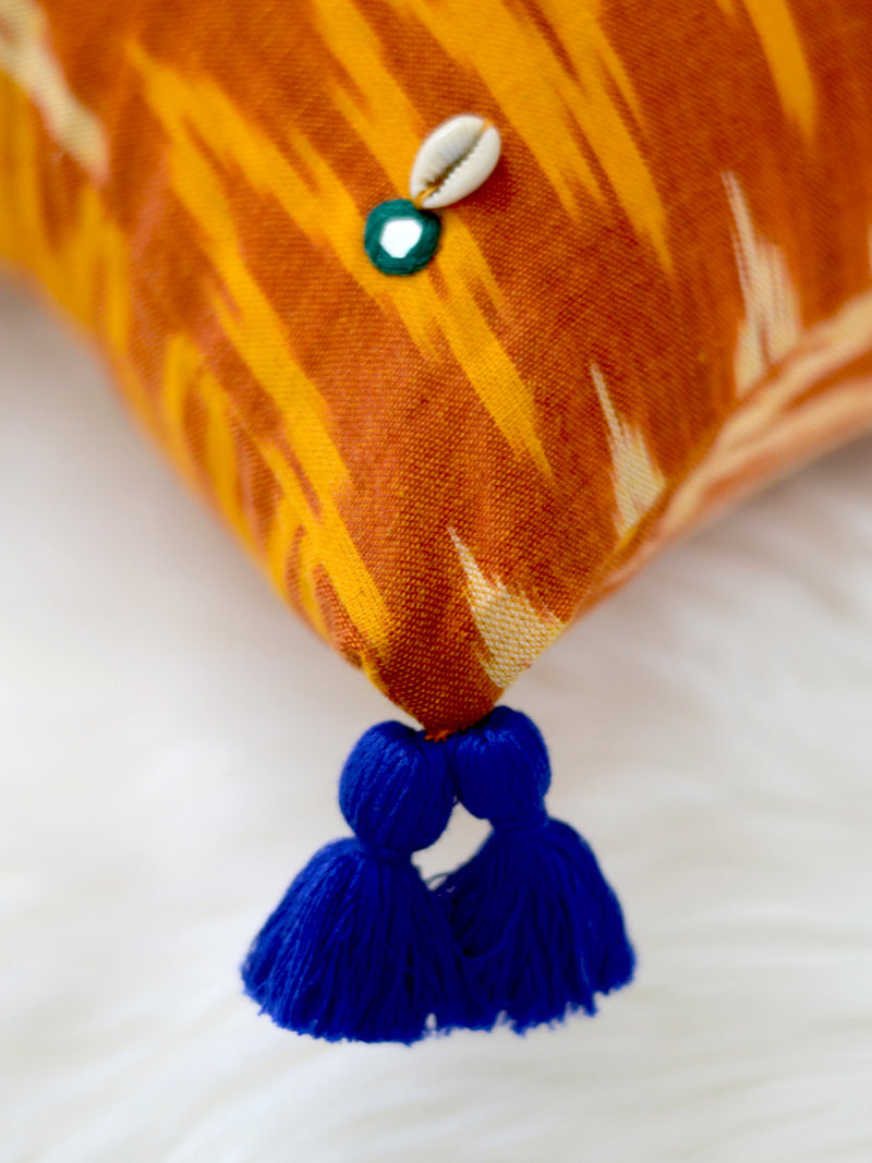 Growth Cushion Cover (Orange/Mustard), a unique hand embroidered cotton cushion cover with mirror and tassel detailing from our wide range of quirky, bohemian home decor products like handcrafted cushion covers, thread art, wall decor & wall art, keychain holders and more.
