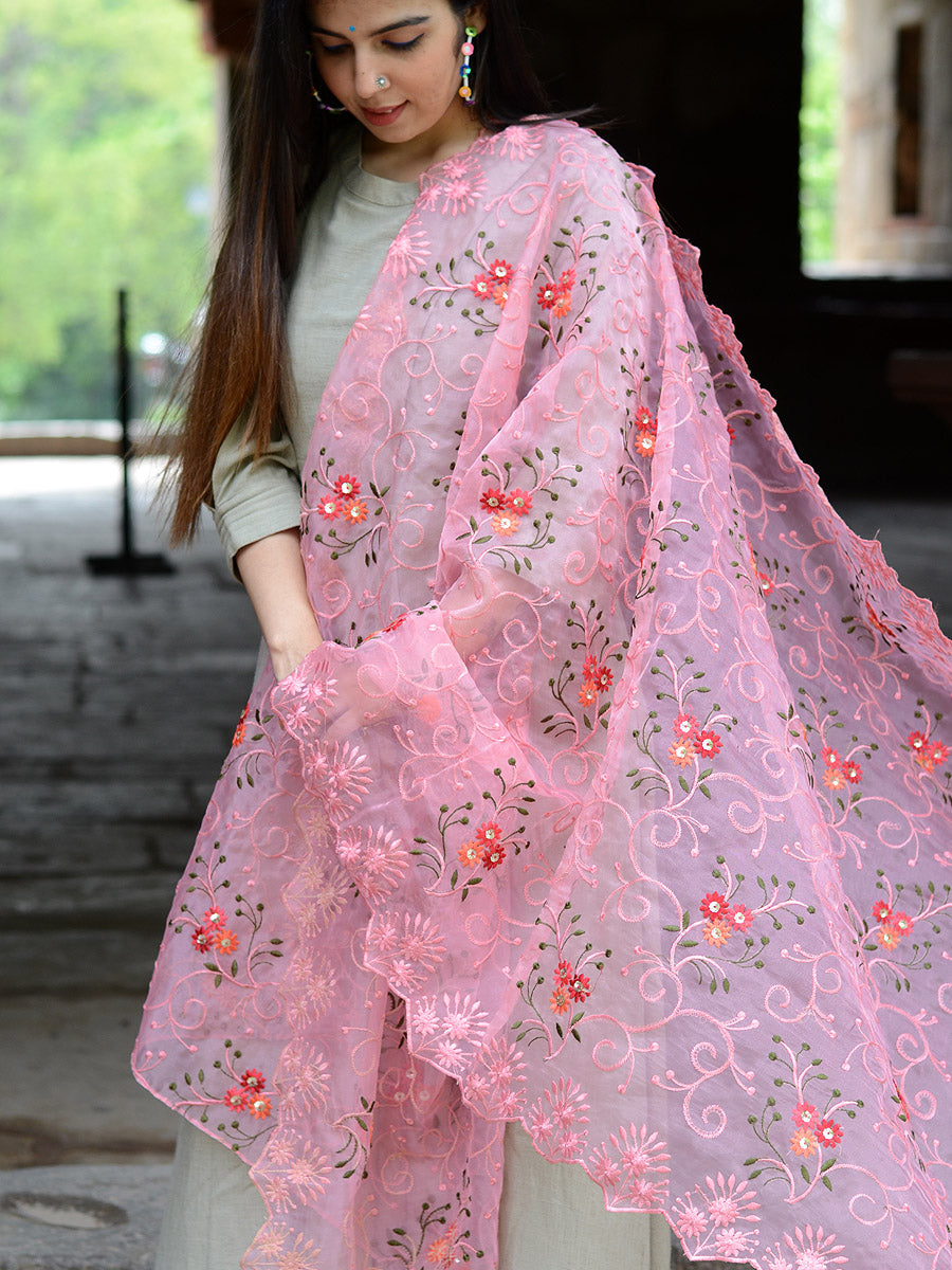 Gulabo Dupatta, a hand embroidered, statement dupatta from our latest designer collection of dupattas and clothing for women online.