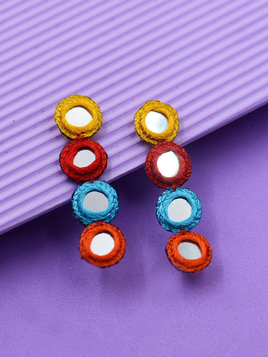 Halo Embroidered Mirror Earrings