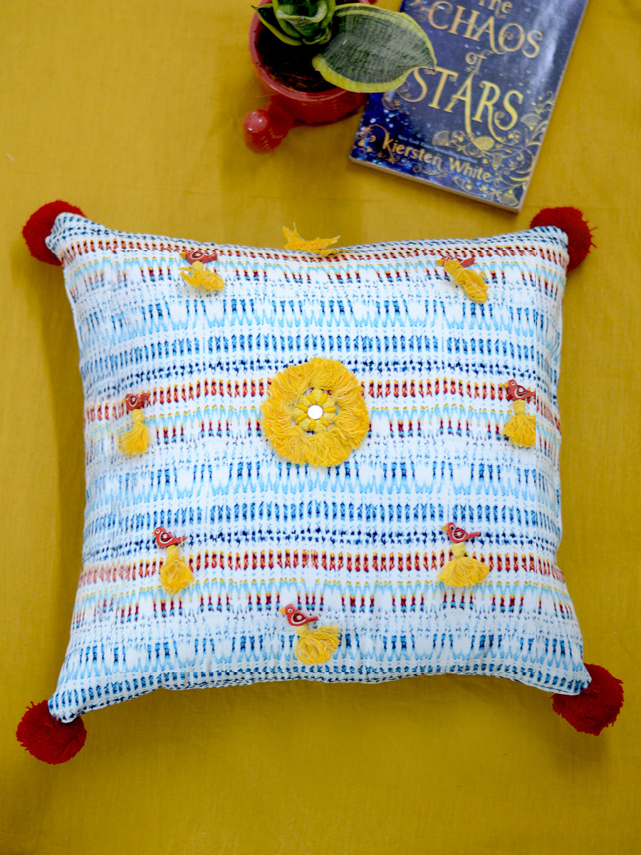 Harmony Cushion Cover, a unique hand embroidered cotton cushion cover with pom pom and tassel detailing from our wide range of quirky, bohemian home decor products like ethnic cushion covers, thread art and more.