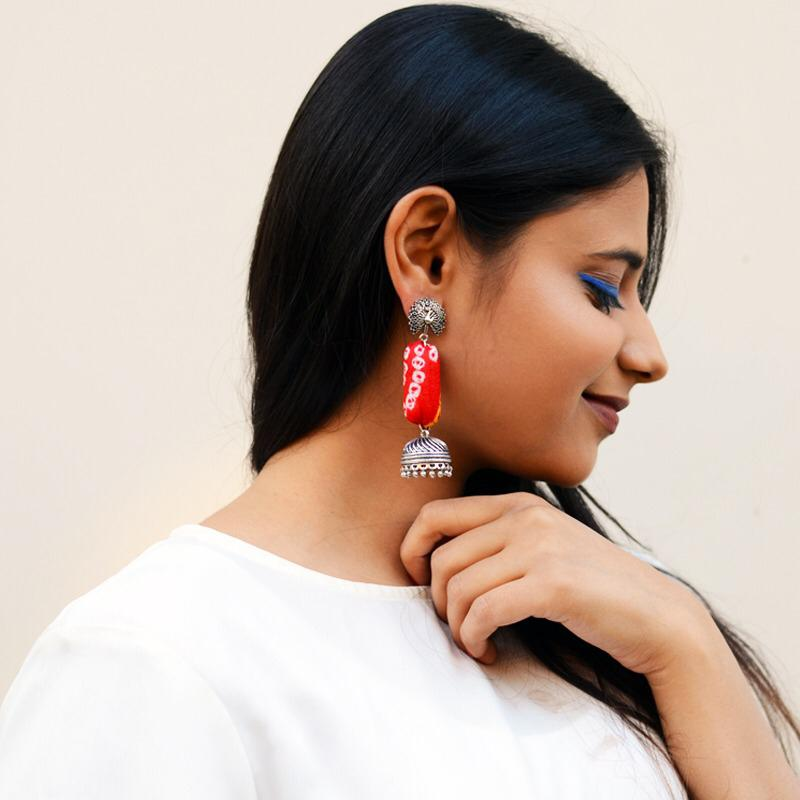 Bandhej Jhumka, a gorgeous Indian bohemian ethnic earring jhumka with peacock detail from our designer collection of earrings and jhumkas for women online.
