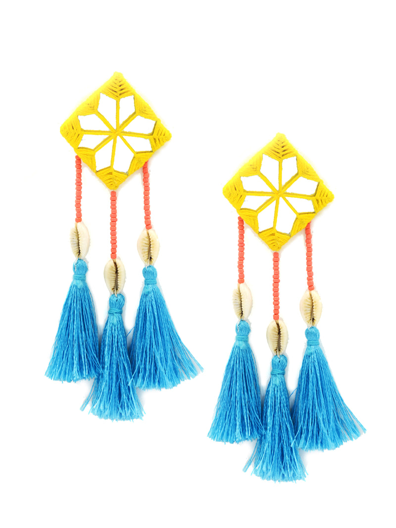 Bohemian Rhapsody Hand-embroidered Tassel Earrings, a beautiful handmade hand embroidered earring with tassel from our designer collection of earrings for women online.