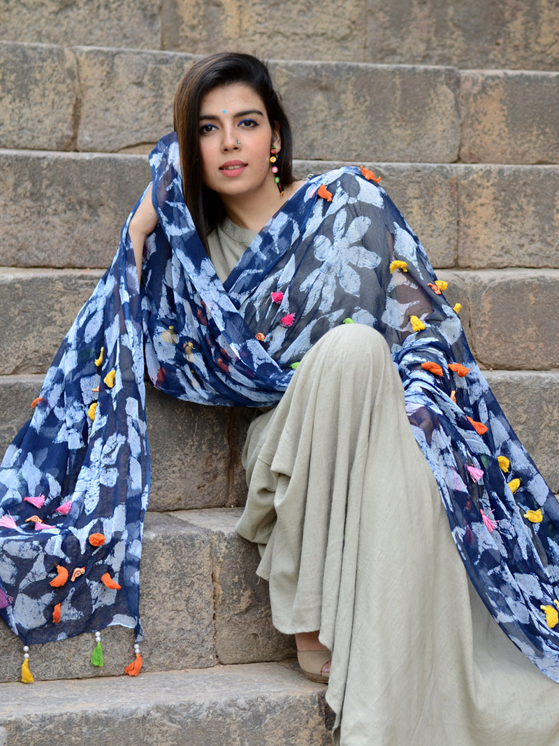 Indigo Birdie Dupatta, a hand embroidered, statement dupatta from our designer collection of dupattas and clothing for women.