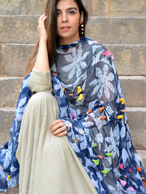 Indigo Birdie Dupatta, a hand embroidered, statement dupatta from our latest designer collection of dupattas and clothing for women online.