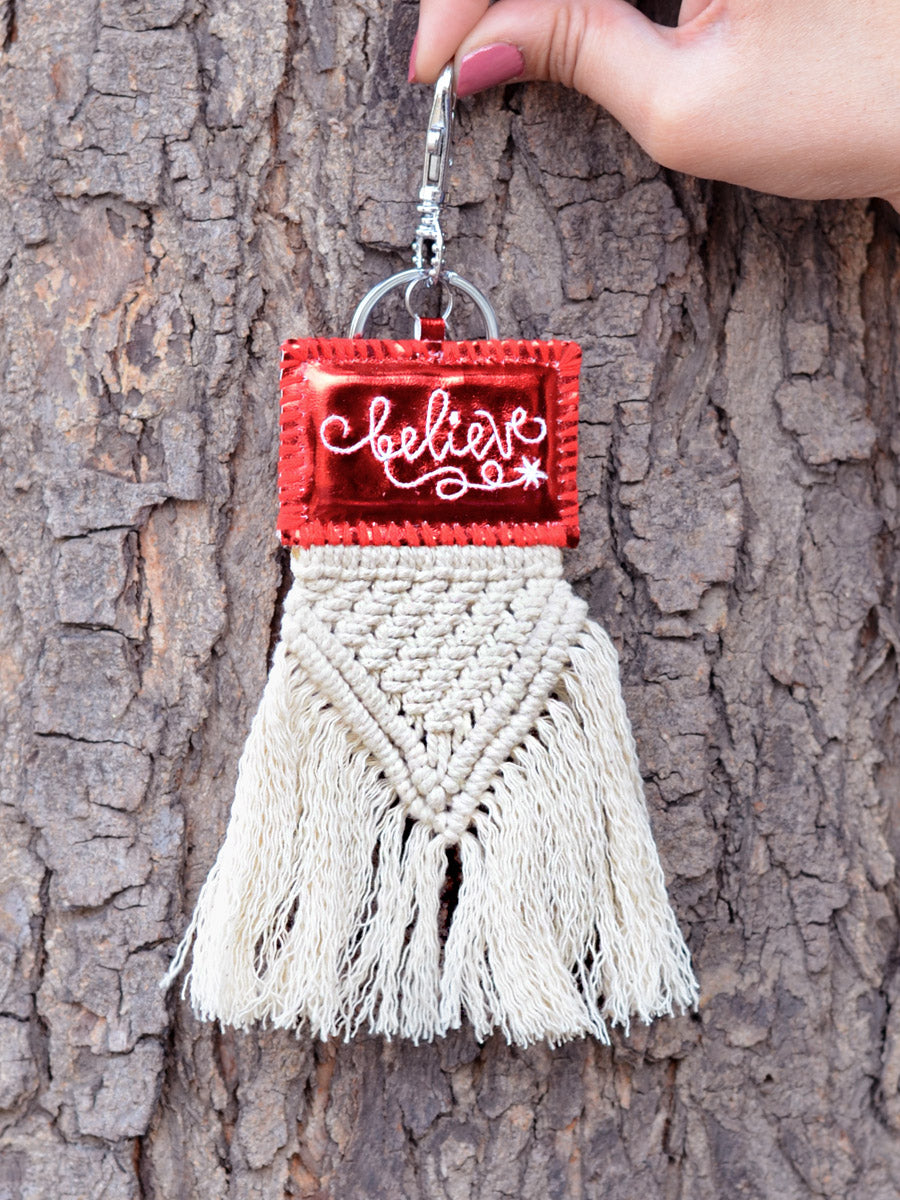 Believe Keychain Bagcharm, a unique handcrafted keychain bag charm from our designer collection of hand embroidered keychain and bag charms online.