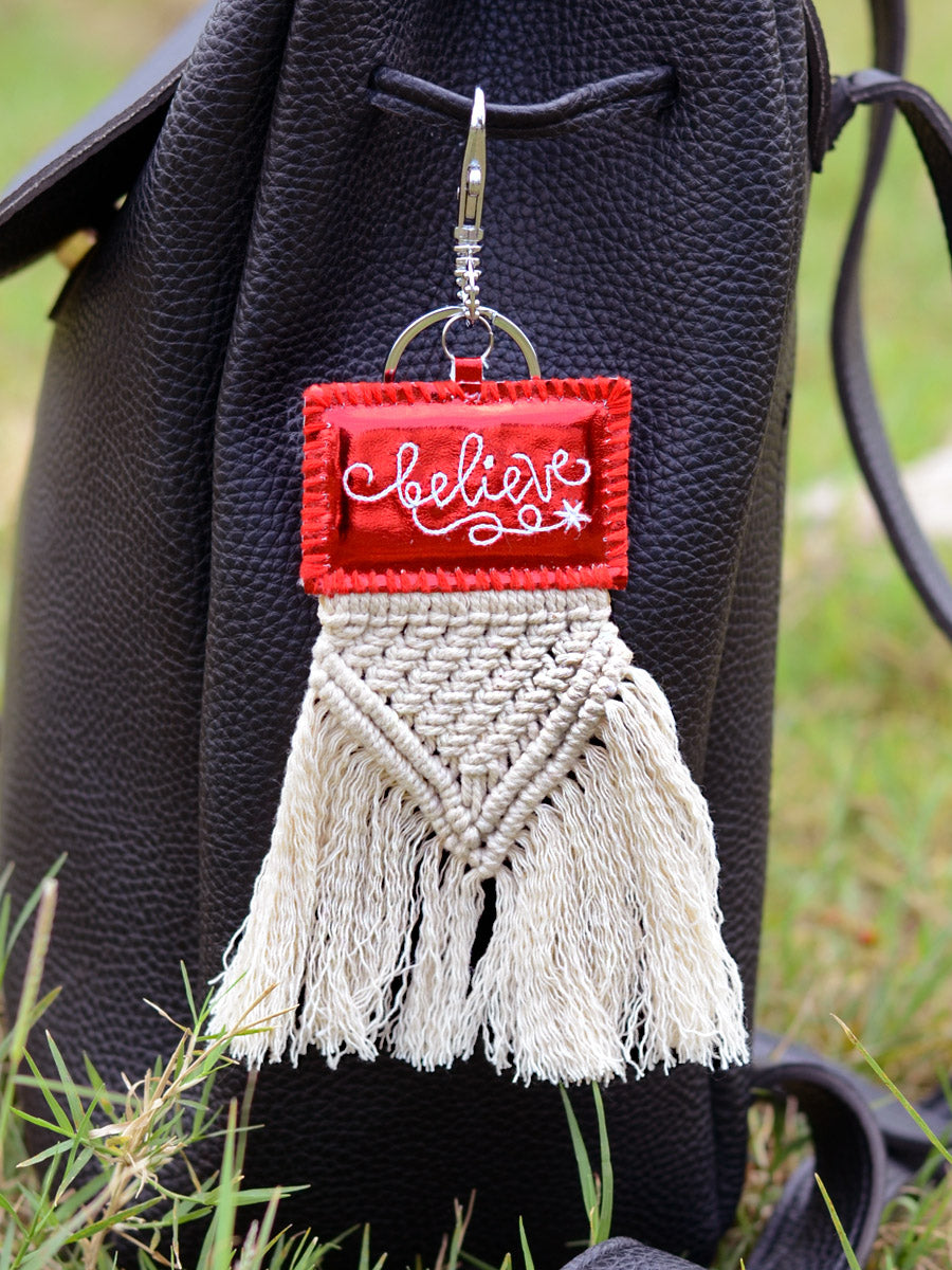 Believe Keychain Bagcharm, a unique handcrafted keychain bag charm from our designer collection of hand embroidered statement keychains and bag charms online.