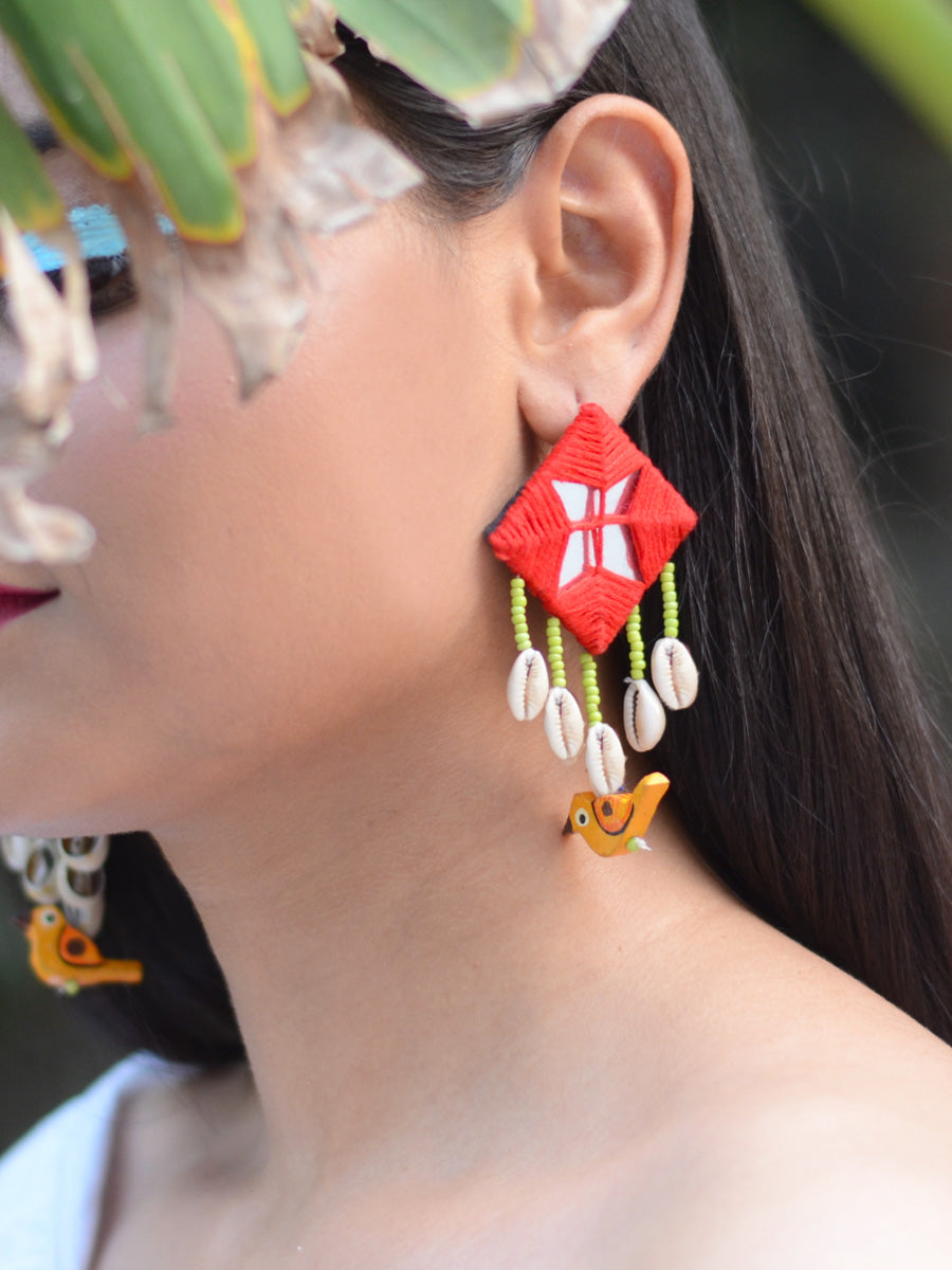 Zahira Mirror Embroidered Bird Earrings, an embroidered mirror earring with beads and shell from our quirky designer collection of earrings for women online.