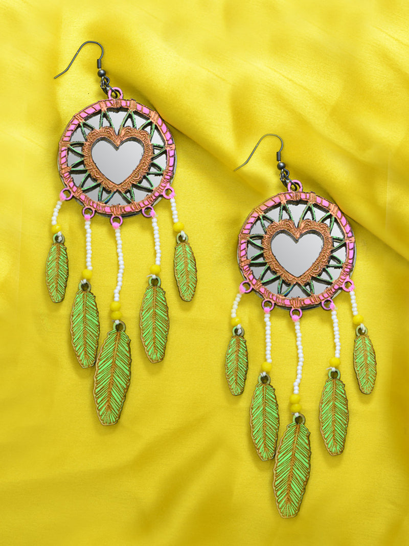 Khwaab Dreamcatcher Earrings, an embroidered earring with beads from our quirky designer collection of earrings for women online.