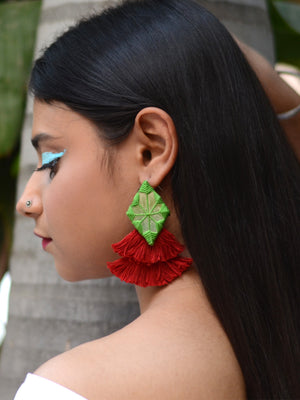 Naaz Hand-Embroidered Tassel Earrings, a beautiful handmade hand embroidered earring with mirror and tassel from our designer collection of earrings for women.