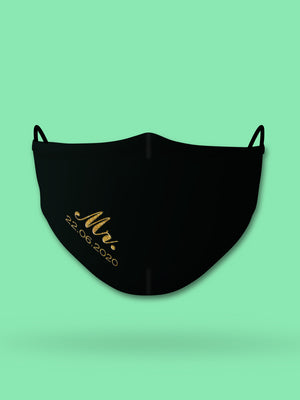 Mr. Wedding Date Embroidered Wedding Face Mask