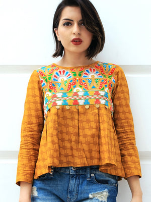Adah Box Pleat Top, a quirky boho hand embroidered top from our designer collection of tops for women.