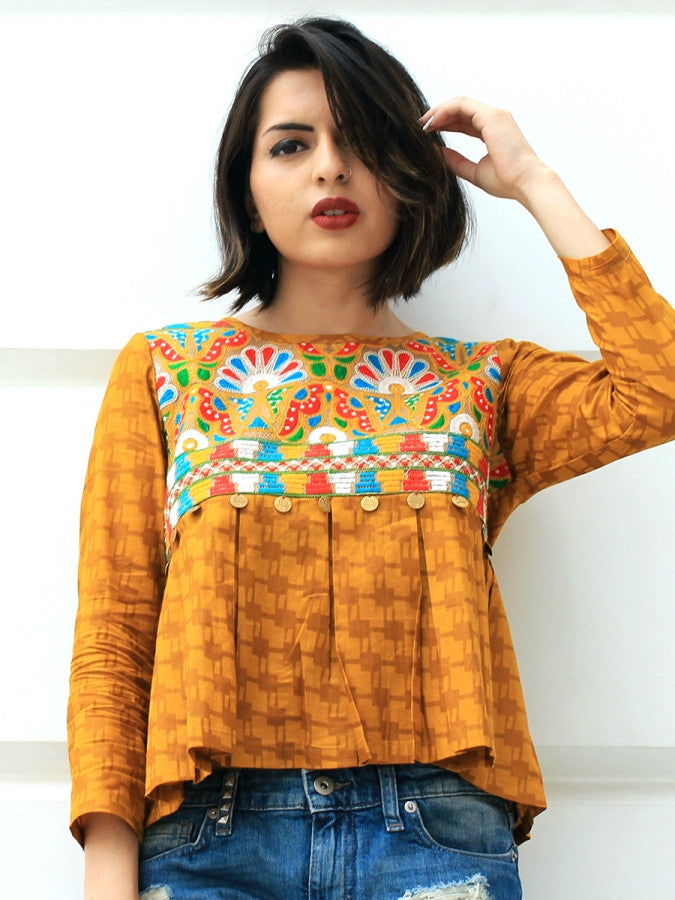 Adah Box Pleat Top, a quirky boho hand embroidered top from our latest designer collection of tops for women online.