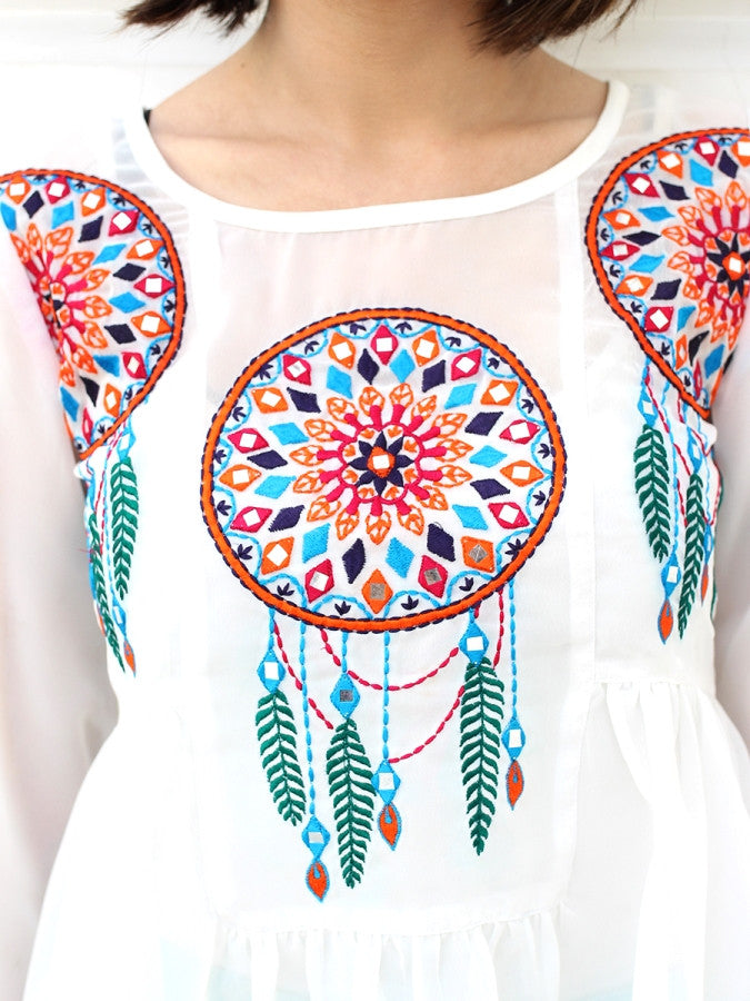 Nitaara Dream-catcher Top, a quirky boho bell sleeves top from our designer collection of tops and clothing for women.