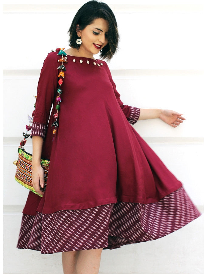 Myrah Ikat Tent-Style Dress, a hand embroidered ultra chic dress with shell detailing from our designer collection of boho and ethnic dresses for women.