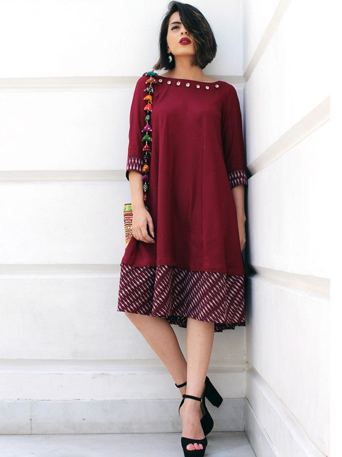 Myrah Ikat Tent-Style Dress, a hand embroidered ultra chic dress with shell detailing from our latest designer collection of boho and ethnic dresses for women online.